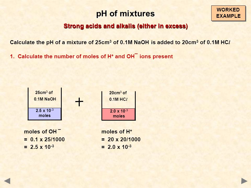 Calculate the pH of a mixture of 25cm 3 of 0.1M NaOH is added to 20cm 3 of 0.1M HC l 1. Calculate the number of moles of H + and OH¯ ions present pH o