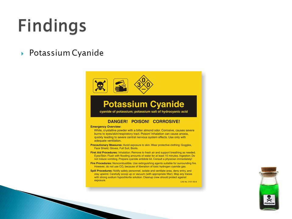  Potassium Cyanide Findings