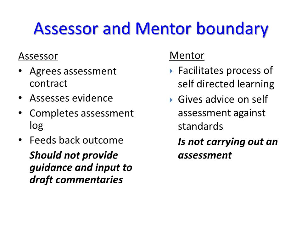 Assessor Agrees assessment contract Assesses evidence Completes assessment log Feeds back outcome Should not provide guidance and input to draft comme