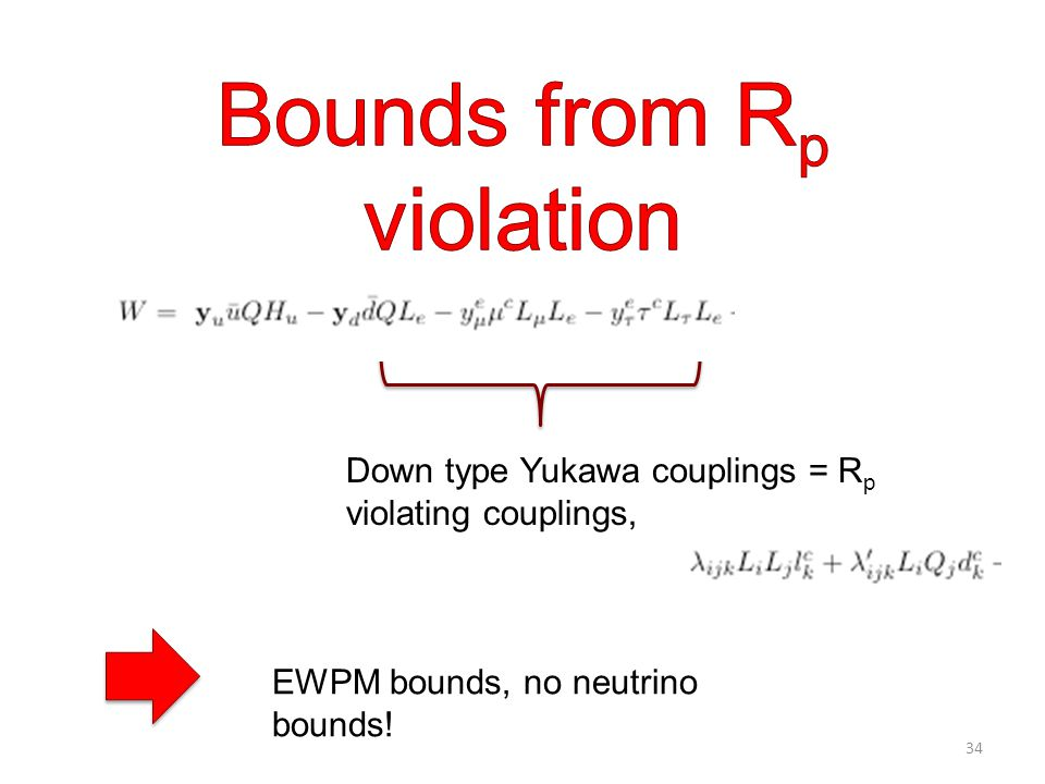 Down type Yukawa couplings = R p violating couplings, EWPM bounds, no neutrino bounds! 34