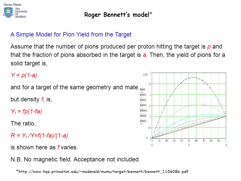 A Simple Model for Pion Yield from the Target Assume that the number of pions produced per proton hitting the target is p and that the fraction of pio