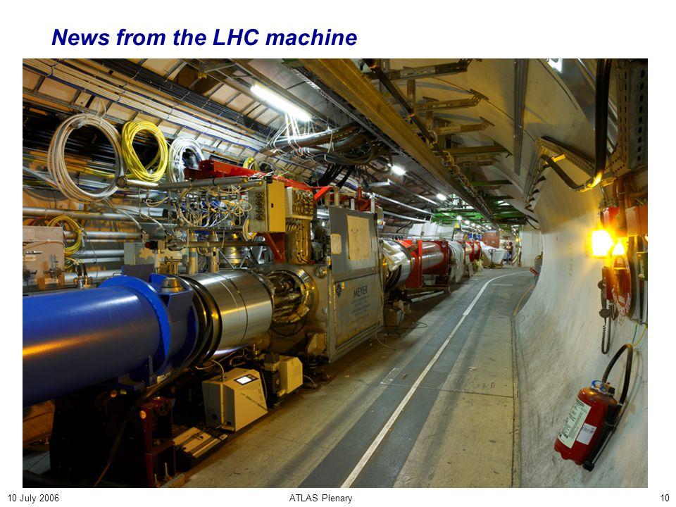 10 July 2006ATLAS Plenary10 News from the LHC machine