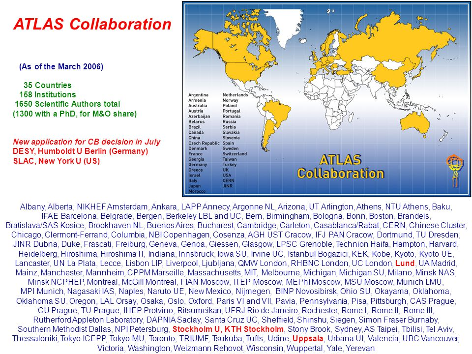 10 July 2006ATLAS Plenary24 Steps on the way to the gradual implementation of the Operation Model (OM) Setting up of the five activity areas: Detector operationWill evolve from the present commissioning organization which is well functional and growing TriggerWill evolve from the present TDAQ system and physics-related trigger activities, and the TDAQ management changes underway anticipate the reorganization ComputingBasically existing, OM adaptations being implemented Data PreparationIs being set up now, will regroup many present activities PhysicsBasically existing, OM adaptations being implemented An important step was the introduction of explicit combined Trigger and Physics Weeks driving this central activity for preparing the data taking era Both the cosmic ray running, gradually starting at Point-1, and the forthcoming large-scale 'Calibration Data Challenge' simulations can be seen as important 'shake-down' actions for the OM implementation We have also initiated a major effort (OTSMOU Working Group) to define the fair sharing of all operation tasks between all the Institutions, and to review the M&O sharing for the running phase This will include a definition of obligations for new Institutions joining ATLAS in this new phase
