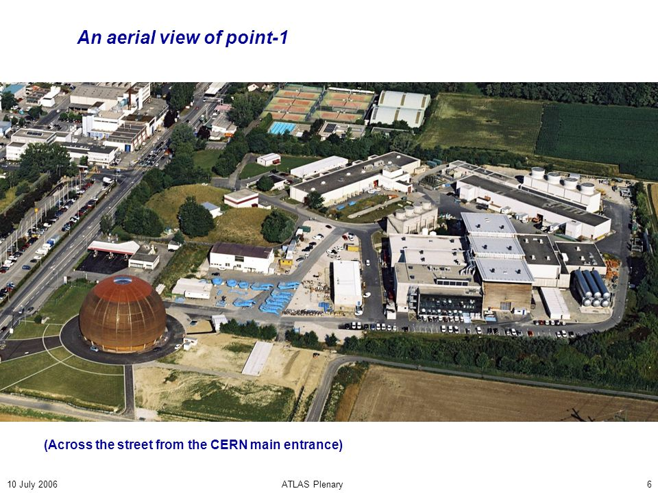 10 July 2006ATLAS Plenary6 An aerial view of point-1 (Across the street from the CERN main entrance)
