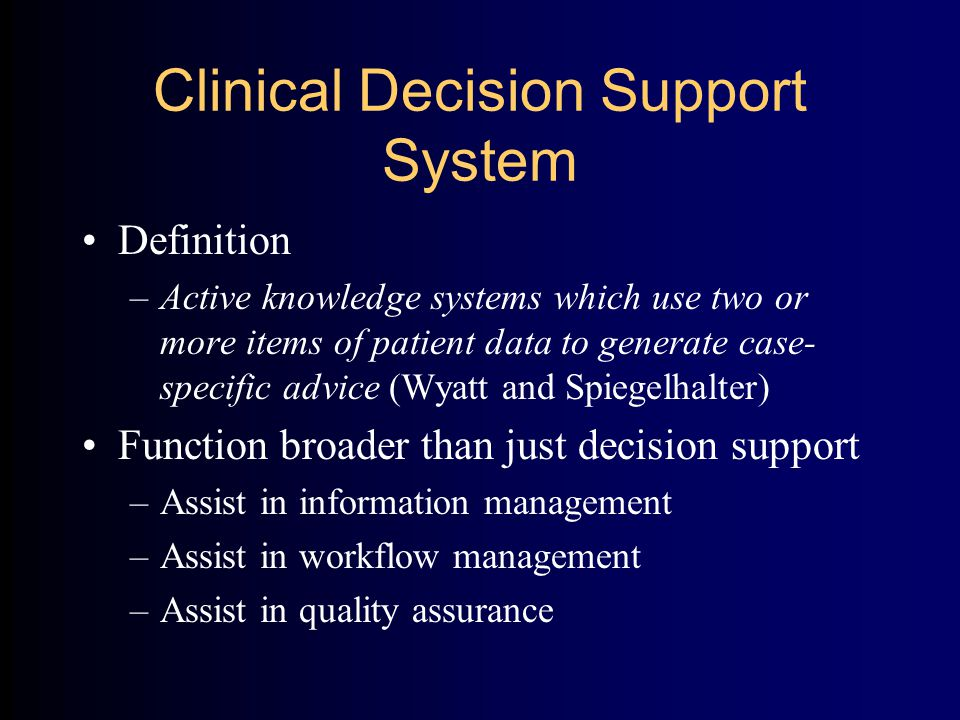 Guideline-Based Decision Support Evaluation, Evidence Effective (Grimshaw and Russell, Lancet 1993)  Improvement in process of care  Improvement in outcomes Meta-analysis of randomized controlled trials of physician reminders: (Johnson, Langton et al.
