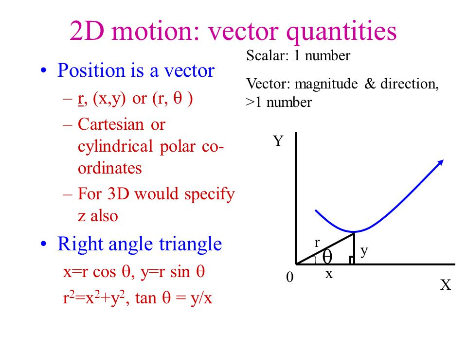 vector addition c=a+b c x = a x +b x c y = a y +b y scalar product x y a b c can use unit vectors i,j i vector length 1 in x direction j vector length 1 in y direction finding the angle between two vectors a,b, lengths of a,b Result is a scalar a b 