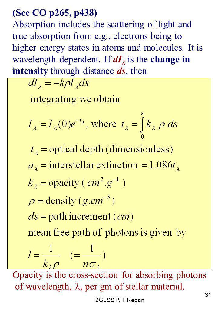 2GLSS P.H. Regan 31 (See CO p265, p438) Absorption includes the scattering of light and true absorption from e.g., electrons being to higher energy st