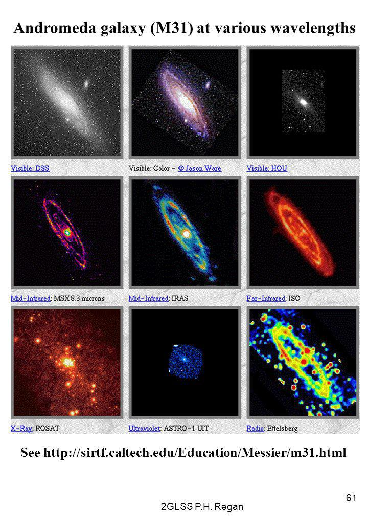 2GLSS P.H. Regan 61 Andromeda galaxy (M31) at various wavelengths See http://sirtf.caltech.edu/Education/Messier/m31.html