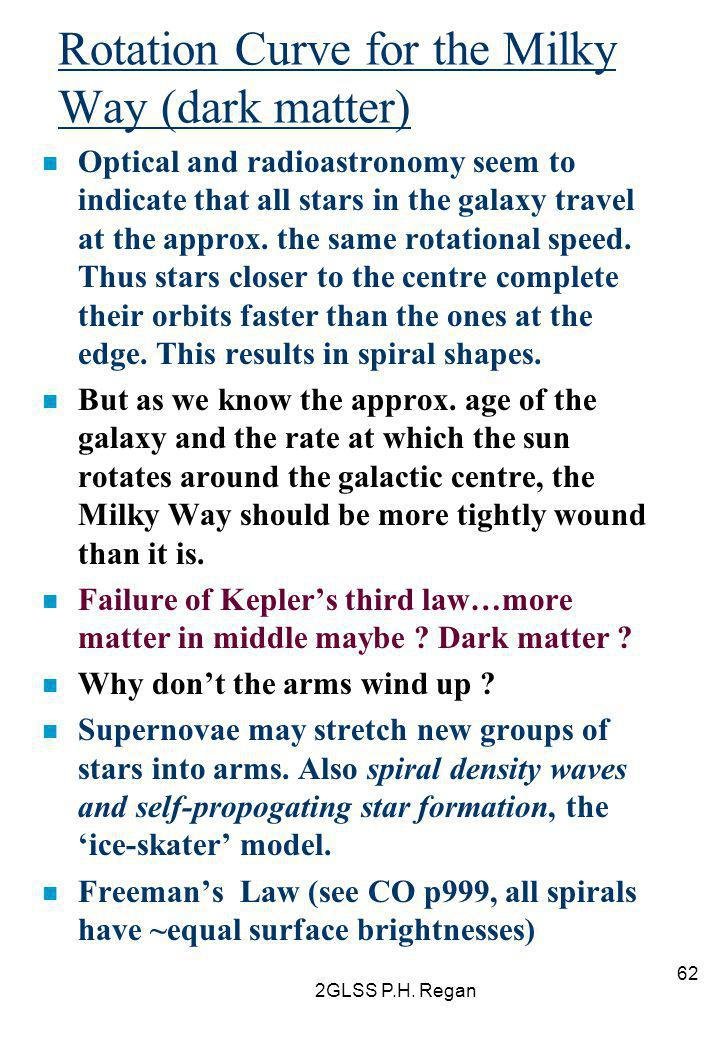 2GLSS P.H. Regan 62 Rotation Curve for the Milky Way (dark matter) n Optical and radioastronomy seem to indicate that all stars in the galaxy travel a