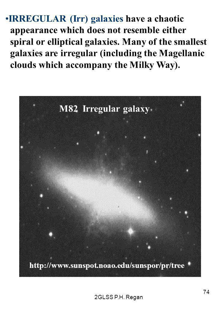 2GLSS P.H. Regan 74 M82 Irregular galaxy http://www.sunspot.noao.edu/sunspor/pr/tree IRREGULAR (Irr) galaxies have a chaotic appearance which does not
