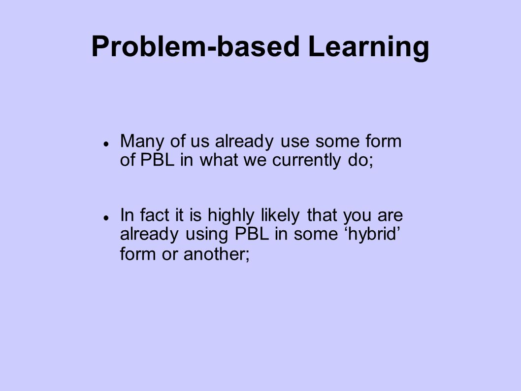 PBL Models Model 1: Problem-based learning for epistemological competence; Model 11: Problem-based learning for professional action; Model 111: Problem-based learning for interdisciplinary understanding; Model 1V: Problem-based learning for transdisciplinary learning; Model V: Problem-based learning for critical contestability.