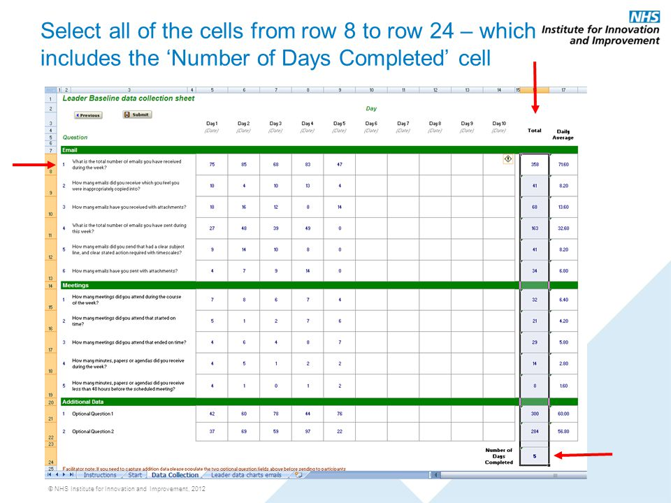 © NHS Institute for Innovation and Improvement, 2012 Select all of the cells from row 8 to row 24 – which includes the 'Number of Days Completed' cell