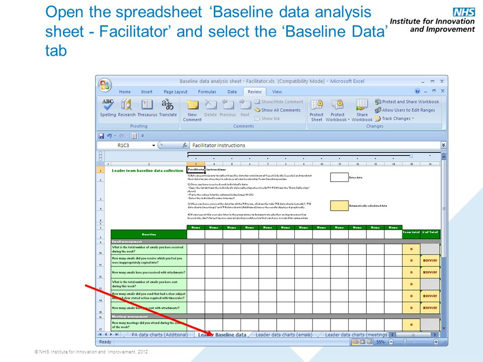 © NHS Institute for Innovation and Improvement, 2012 Open the spreadsheet 'Baseline data analysis sheet - Facilitator' and select the 'Baseline Data' tab