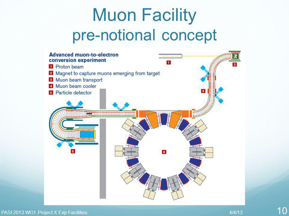 Muon Facility pre-notional concept 4/4/13PASI 2013 WG1 Project X Exp Facilities 10