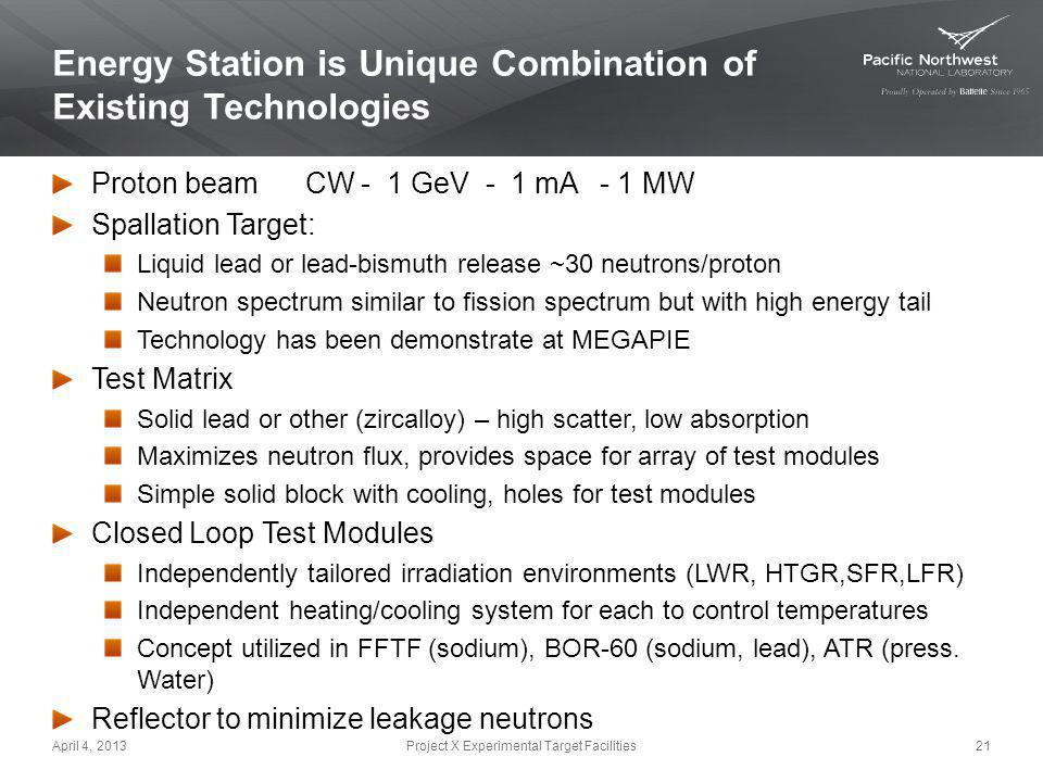 Energy Station is Unique Combination of Existing Technologies Proton beam CW - 1 GeV - 1 mA - 1 MW Spallation Target: Liquid lead or lead-bismuth rele
