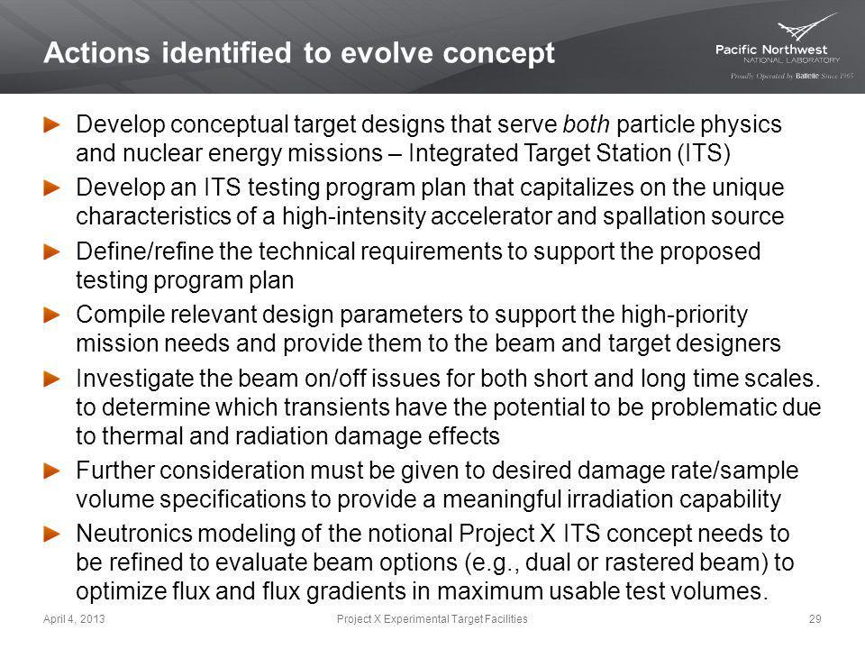 Actions identified to evolve concept Develop conceptual target designs that serve both particle physics and nuclear energy missions – Integrated Targe