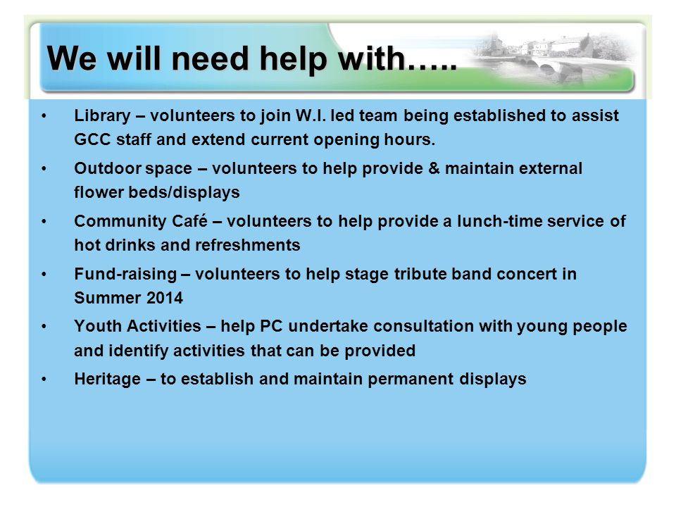 We will need help with…..Library – volunteers to join W.I.