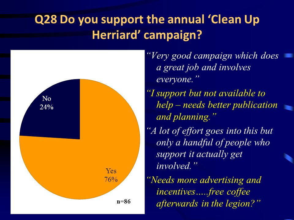 Q28 Do you support the annual 'Clean Up Herriard' campaign.