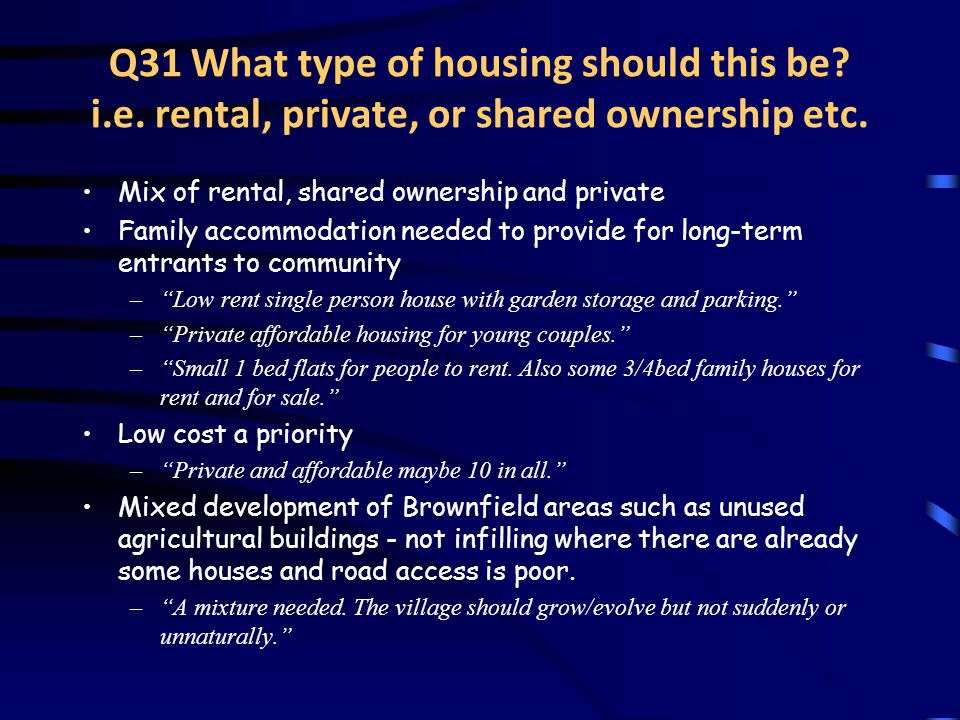 Q31 What type of housing should this be. i.e. rental, private, or shared ownership etc.