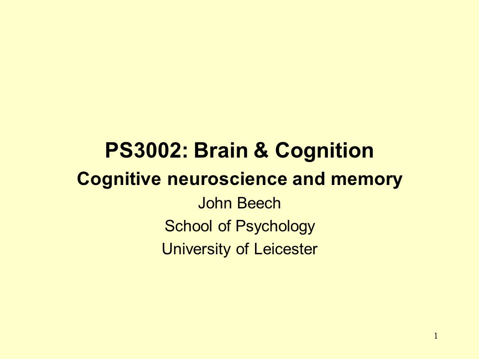 1 PS3002: Brain & Cognition Cognitive neuroscience and memory John Beech School of Psychology University of Leicester