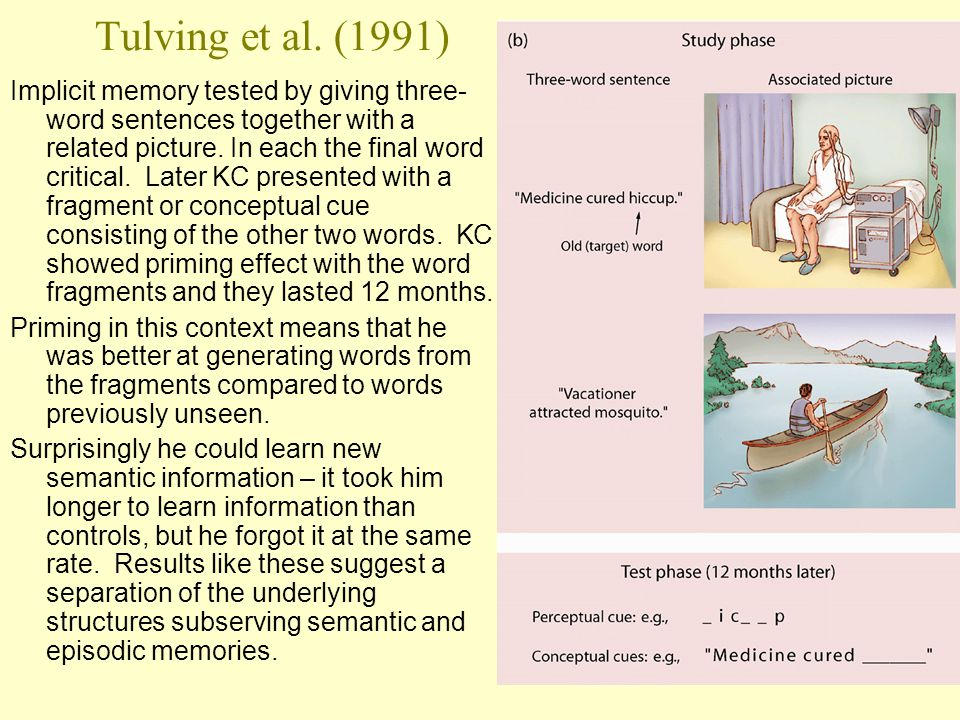 41 Tulving et al. (1991) Implicit memory tested by giving three- word sentences together with a related picture. In each the final word critical. Late