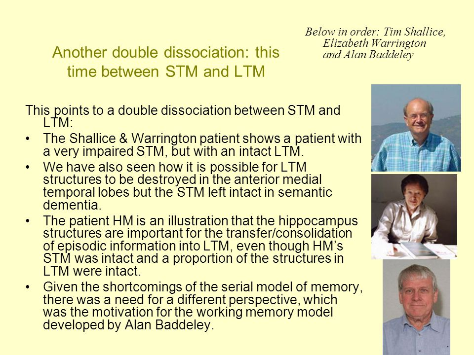 48 Another double dissociation: this time between STM and LTM This points to a double dissociation between STM and LTM: The Shallice & Warrington pati