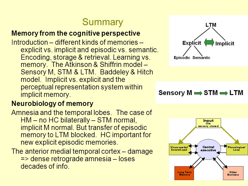 59 Summary Memory from the cognitive perspective Introduction – different kinds of memories – explicit vs. implicit and episodic vs. semantic. Encodin