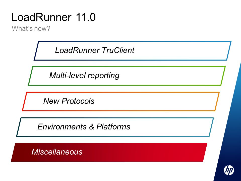 Miscellaneous LoadRunner TruClient Multi-level reporting New Protocols Environments & Platforms What's new.