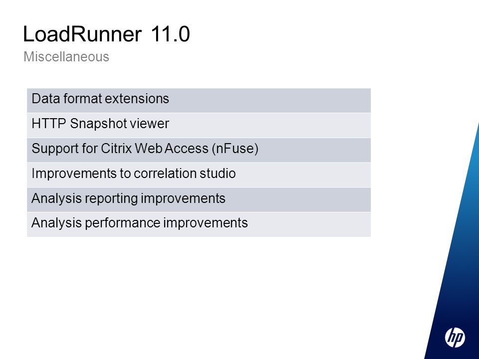 Miscellaneous LoadRunner 11.0 Data format extensions HTTP Snapshot viewer Support for Citrix Web Access (nFuse) Improvements to correlation studio Analysis reporting improvements Analysis performance improvements