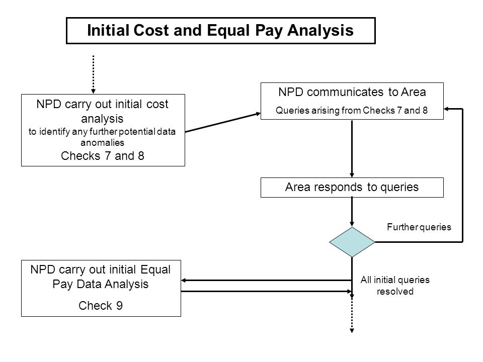 Initial Cost and Equal Pay Analysis NPD carry out initial cost analysis to identify any further potential data anomalies Checks 7 and 8 NPD communicat