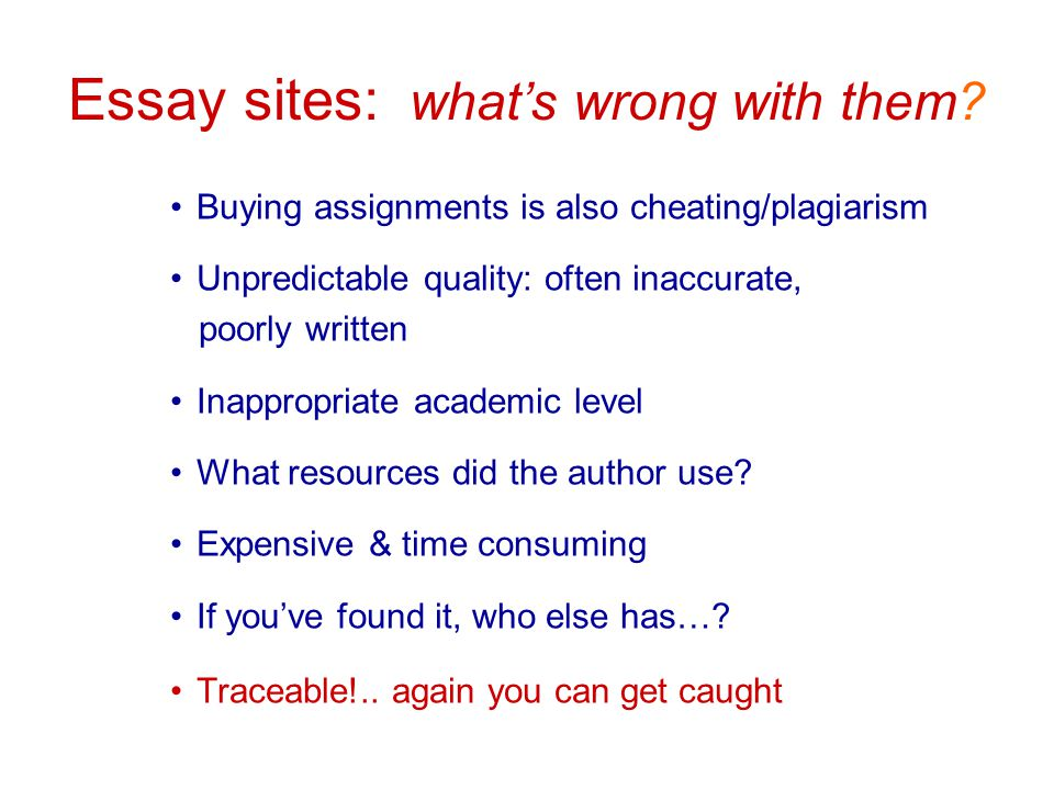 Essay sites: what's wrong with them.