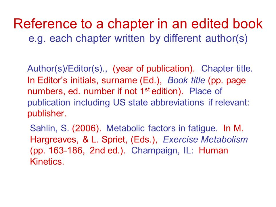Reference to a chapter in an edited book e.g.