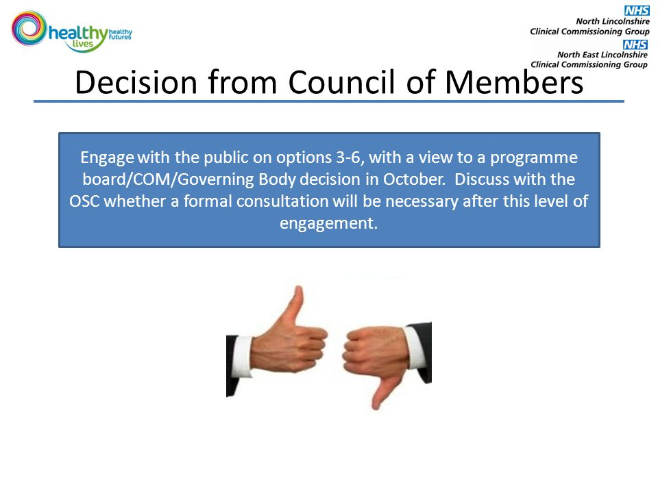 Decision from Council of Members Engage with the public on options 3-6, with a view to a programme board/COM/Governing Body decision in October.