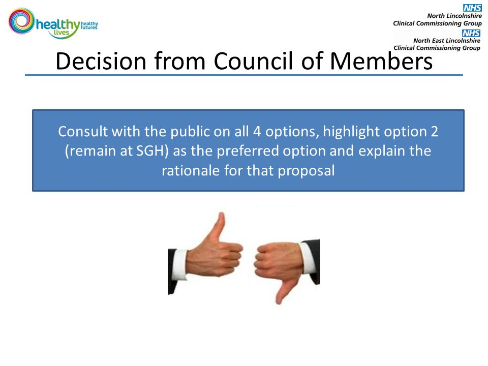 Decision from Council of Members Consult with the public on all 4 options, highlight option 2 (remain at SGH) as the preferred option and explain the rationale for that proposal