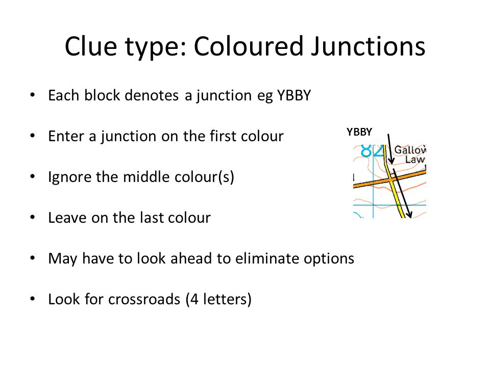 Clue type: Coloured Junctions Each block denotes a junction eg YBBY Enter a junction on the first colour Ignore the middle colour(s) Leave on the last