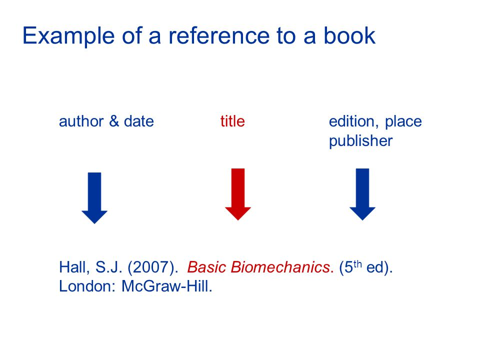 Example of a reference to a book author & date titleedition, place publisher Hall, S.J.