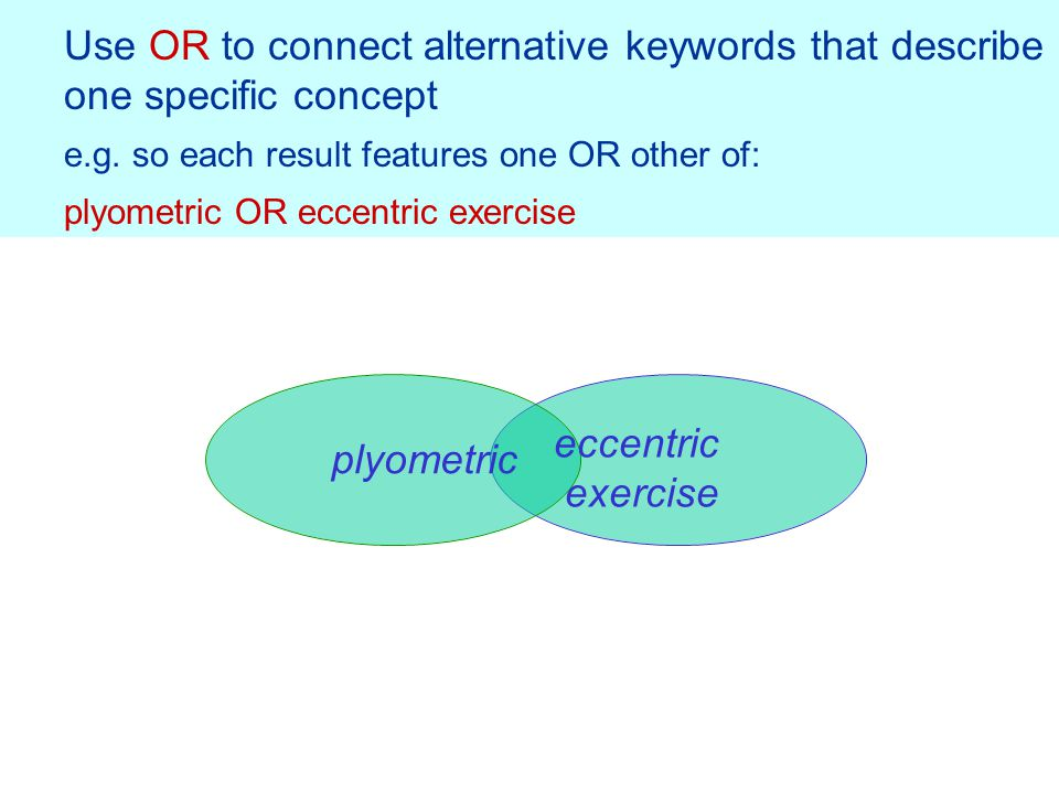 Use OR to connect alternative keywords that describe one specific concept e.g.