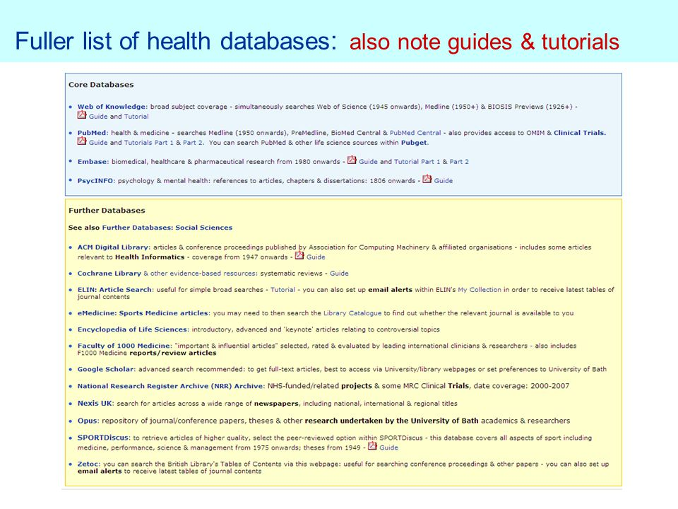 Fuller list of health databases : also note guides & tutorials