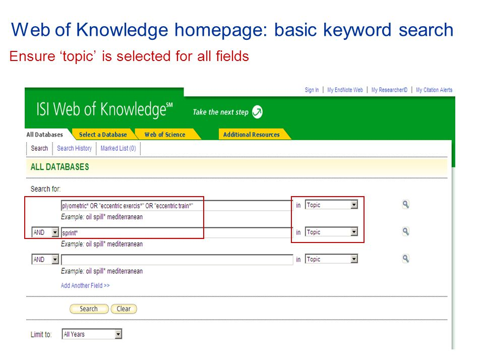 Web of Knowledge homepage: basic keyword search E nsure 'topic' is selected for all fields