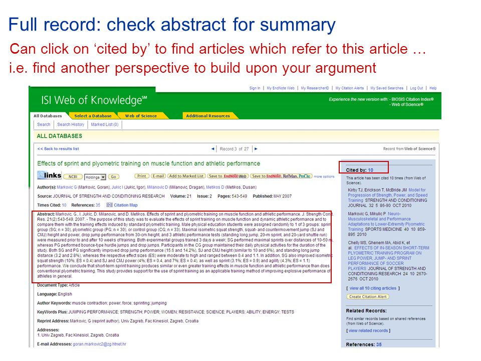 Full record: check abstract for summary Can click on 'cited by' to find articles which refer to this article … i.e.