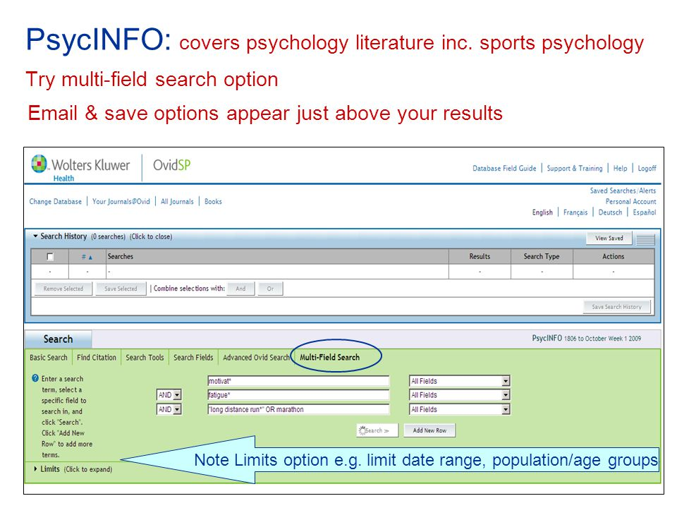 PsycINFO: covers psychology literature inc.