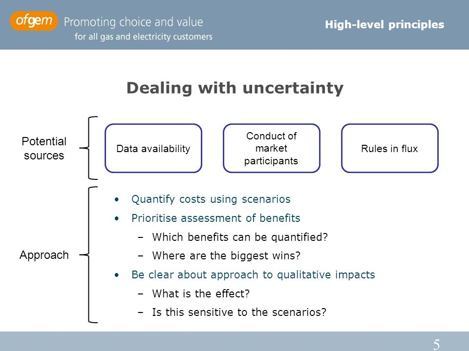 5 Dealing with uncertainty High-level principles Data availability Conduct of market participants Rules in flux Potential sources Quantify costs using scenarios Prioritise assessment of benefits –Which benefits can be quantified.