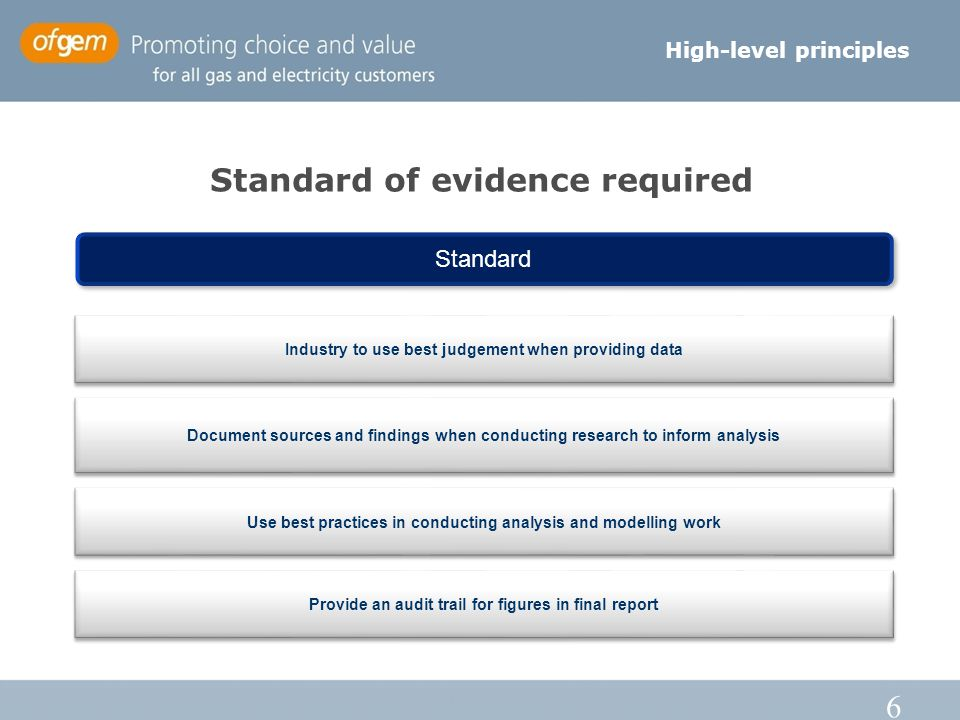 6 Standard of evidence required High-level principles Standard Industry to use best judgement when providing data Document sources and findings when conducting research to inform analysis Use best practices in conducting analysis and modelling work Provide an audit trail for figures in final report