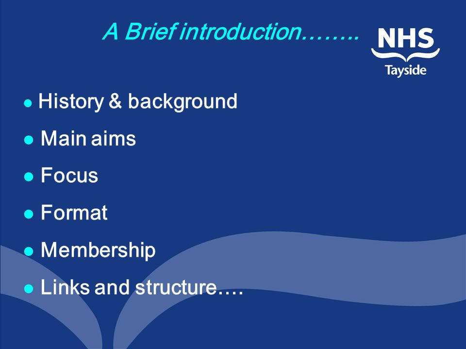 A Brief introduction…….. History & background Main aims Focus Format Membership Links and structure….