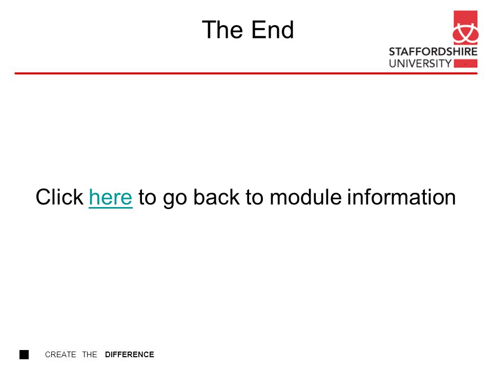 CREATE THE DIFFERENCE The End Click here to go back to module informationhere