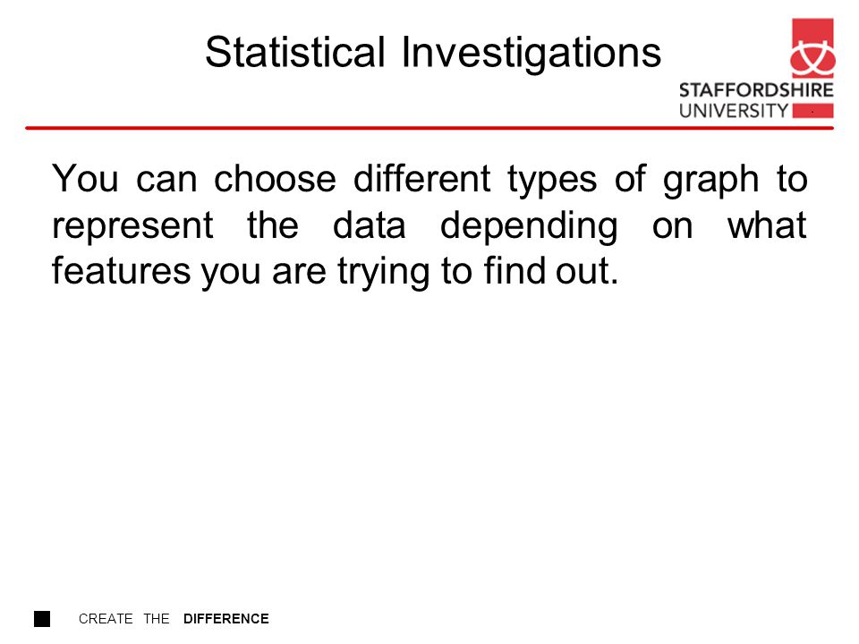 CREATE THE DIFFERENCE Statistical Investigations You can choose different types of graph to represent the data depending on what features you are trying to find out.