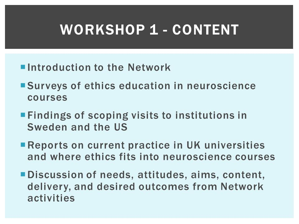 Introduction to the Network  Surveys of ethics education in neuroscience courses  Findings of scoping visits to institutions in Sweden and the US