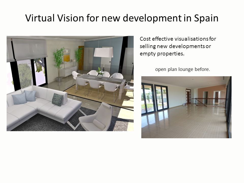 Virtual Vision for new development in Spain Cost effective visualisations for selling new developments or empty properties.