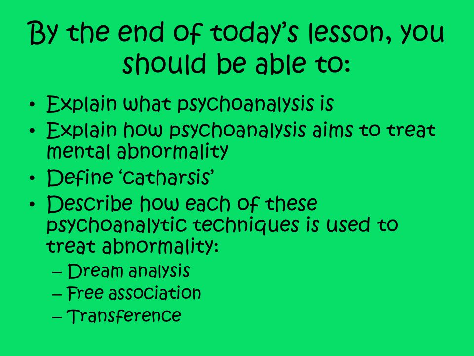 Transference Transferring your feelings towards a certain person onto the therapist Could be positive or negative feelings In pairs, one person is the therapist, other is the patient Patient to imagine that the therapist has just killed their dog, cat, ferret, etc.