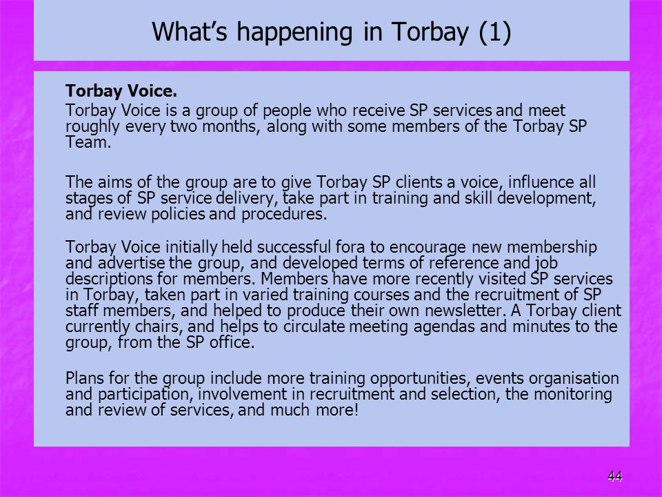 44 What's happening in Torbay (1) Torbay Voice. Torbay Voice is a group of people who receive SP services and meet roughly every two months, along wit